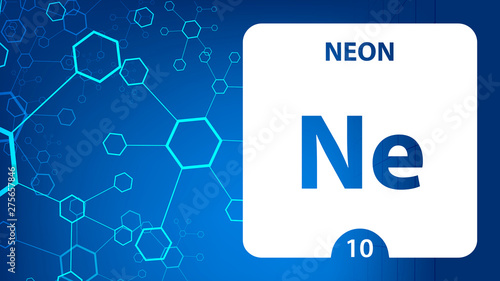 Neon 10 element. Alkaline earth metals. Chemical Element of Mendeleev Periodic Table. Neon in square cube creative concept. Chemical, laboratory and science background for university college