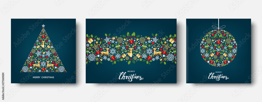 Fototapeta Colorful  Christmas  and New Year greeting card with reindeer.
