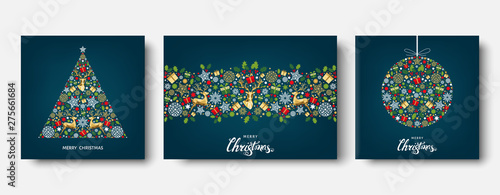 Colorful  Christmas  and New Year greeting card with reindeer. Tableau sur Toile