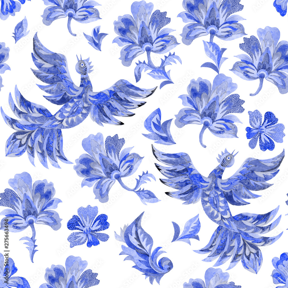 Watercolor floral seamless pattern in folk painting style. Indigo blue fantasy birds, flowers, leaves on a white background. Batik, book cover, poster, textile print, wallpaper, wrapping paper