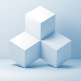 White cubes installation, abstract 3d