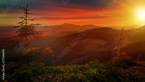 Montage in der Fensternische Braun beautiful landscape sunset nature mountians. Carpatian sky