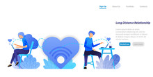 Send Chat Big Love Messages  From Long Distance Relationship Couple Communication With A Desktop Laptop. Flat Illustration Concept For Landing Page, Web, Ui, Banner, Flyer, Poster, Template, Backgroun