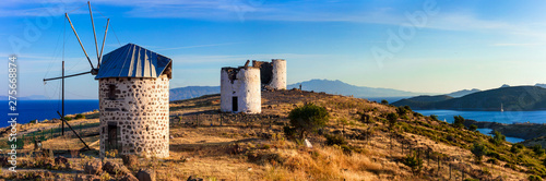 Bodrum, Turkey - sunset panorama with old windmills