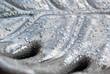 Ceramic leaf palm closeup. background