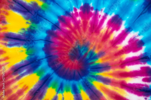 Fotografie, Obraz  Tie Dye spiral vibrant and gradient rainbow multicolor , hippie shirt pattern