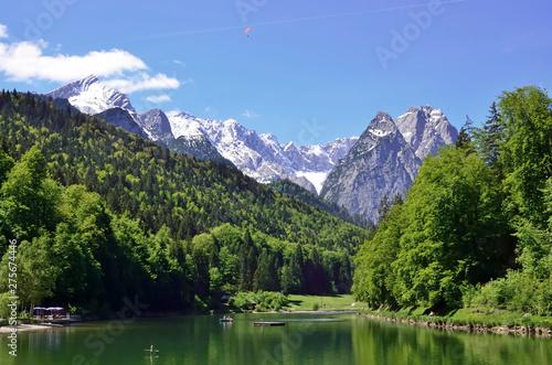 Foto auf Gartenposter Reflexion Riessersee mit Waxenstein u.Alpspitze, Garmisch-Partenkirchen