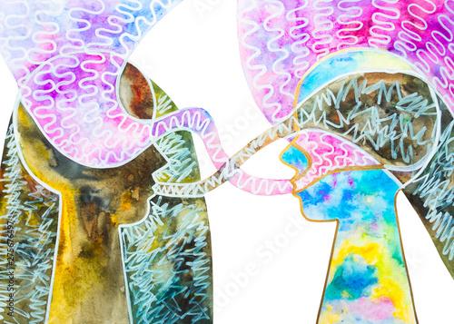 Fotografie, Obraz  persona materialista e spirituale due persone comunicano sfondo bianco  dipinto