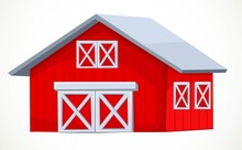 Big Barn Painted In Red And White Object Isolated On White Background