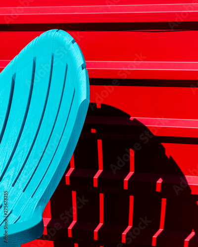 blue chair and red wall