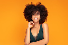 Beauty Afro Woman With Glamour Makeup.