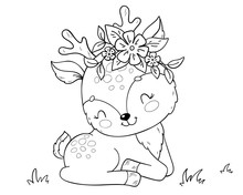 Cute Cartoon Baby Deer. Coloring Book Page For Children.