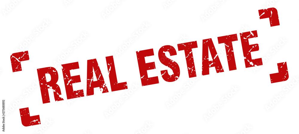 Fototapeta real estate stamp. real estate square grunge sign. real estate