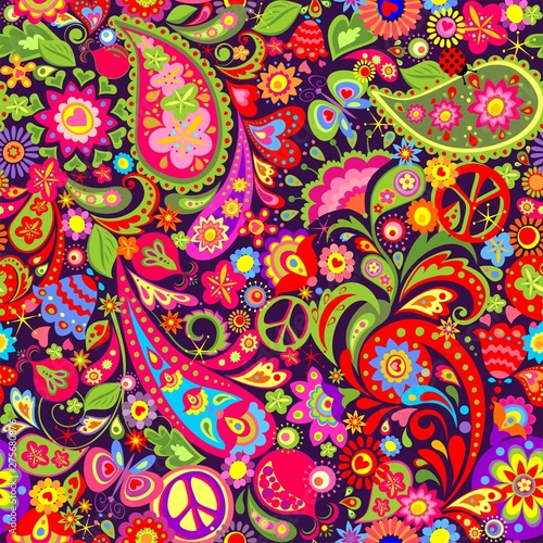 Photo Hippie vivid colorful wallpaper with abstract flowers, hippie peace symbol, butt