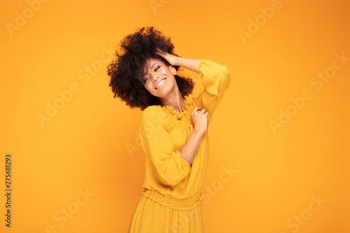 Obraz na plátně  Happy afro woman with beautiful smile.