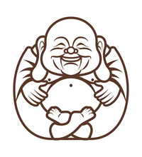Colouring Book. Cute Chubby Happy Laughing Buddha Character Cartoon. Vector Cartoon Illustration. Religion - Vector
