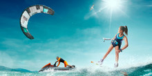 Kite Surfing And Water Scooter In Tropical Ocean.