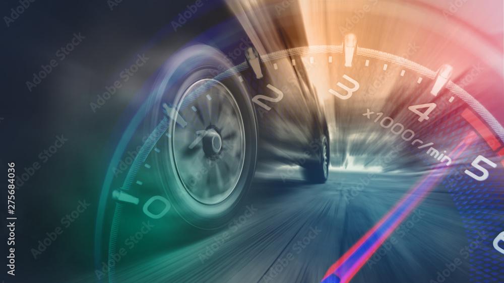 Fototapeta Tires is spin of speeding car
