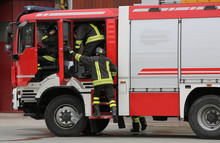 Firefighters  And The Fire Engine