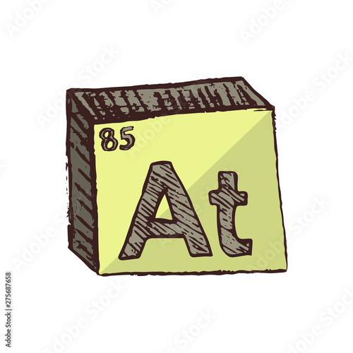 Photo Vector three-dimensional hand drawn chemical gray-yellow symbol of radioactive a