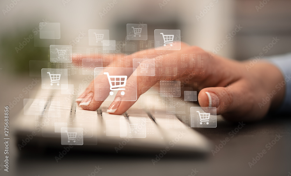 Fototapety, obrazy: Business woman hand typing on keyboard with online shopping concept