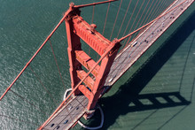 Aerial Down View Of Traffic Lanes On The Golden Gate Bridge Near San Francisco California.