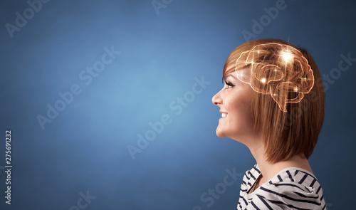 Obraz Portrait with lighting brain and brainstorming concept  - fototapety do salonu