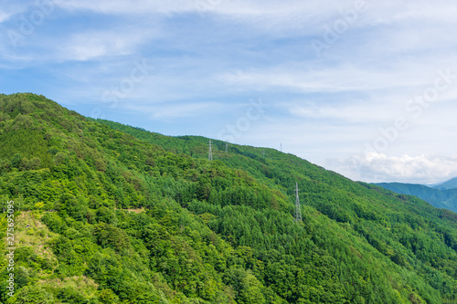 緑の山と空