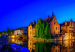 canvas print picture - Classic view of the historic city center of Bruges (Brugge), West Flanders province, Belgium. Night cityscape of Bruges. Canals of Brugge