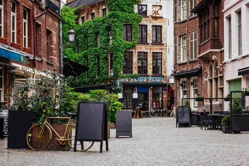 Staande foto Antwerpen Old street of the historic city center of Antwerpen (Antwerp), Belgium. Cozy cityscape of Antwerp. Architecture and landmark of Antwerpen