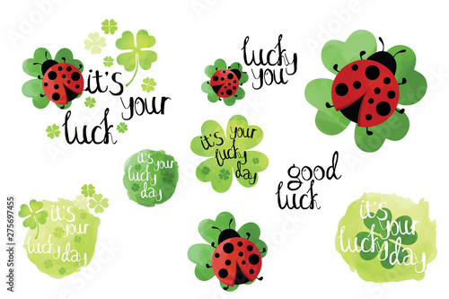 Stampa su Tela  Bright good luck wishes card elements set, drawn labels on white background