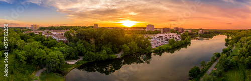 Aerial sunset panorama of Columbia Town Center in Maryland new Washington DC with office buildings and the Columbia Mall - 275702258