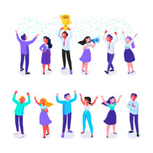 Happy Positive Young People Have Fun Together. Celebration. JoyfulI Isometric People With Raised Hands.  Flat Cartoon Style. Vector Illustration.