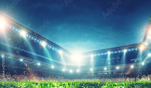 Deurstickers Graffiti collage Full night football arena in lights