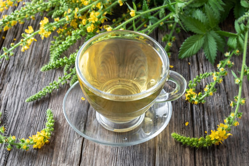 Photo A cup of agrimony tea with blooming agrimony plant