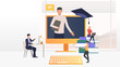 People studying on computers at online school. Service, literature, study concept. Vector illustration can be used for topics like knowledge, education, online school