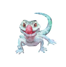 Funny Green Lizard Watercolor ...