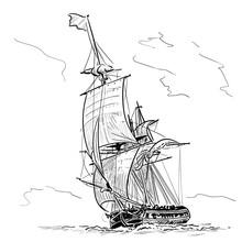 Sailing Ship Vintage Frigate O...