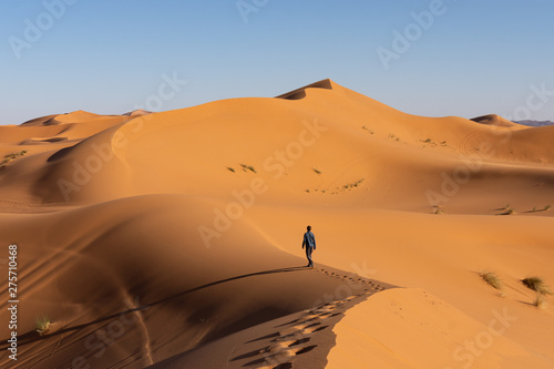 Touriste qui marche dans les dunes, désert de Merzouga Canvas Print