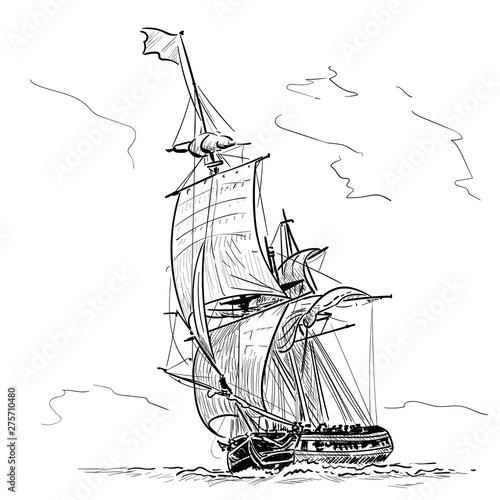Cuadros en Lienzo Sailing Ship vintage frigate on the waves