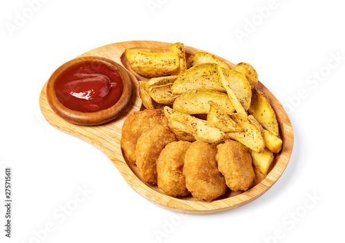 Fototapeta Tasty fried nuggets and potatoes obraz