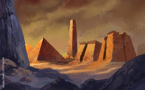 Digital painting of ancient egyptian pyramid architecture in a colorful fantasy Fototapet