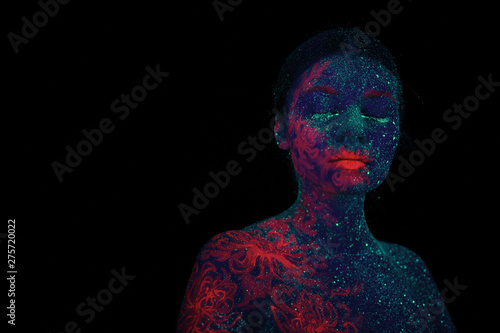 Portrait Of A Beautiful Girl Alien Ultraviolet Body Art Aquamarine Night Sky With Stars And Pink Jellyfish Buy This Stock Photo And Explore Similar Images At Adobe Stock Adobe Stock