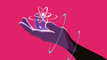A Hand Holding A Floating Atom...