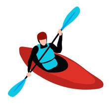 Kayak Man Isolated On White Background, Kayaking Flat Vector Illustration