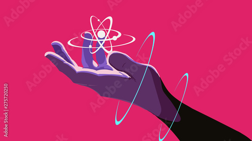 A hand holding a floating atom Canvas-taulu