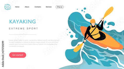 Slika na platnu Landing page template of extreme sport kayaking
