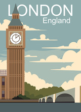 London Retro Poster. Vector Landscape With Big Ban In London City.