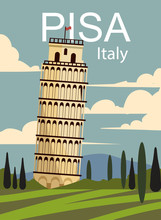 Pisa Retro Poster. Vector Land...