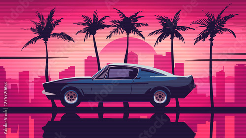 Obraz Retro car rides among the palm trees against the backdrop of the sunset in the city. Pink background in the style of retro sythwave 80s. - fototapety do salonu